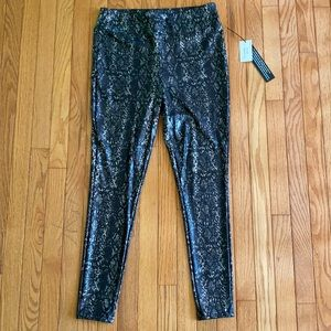 snake print faux leather luxe leggings